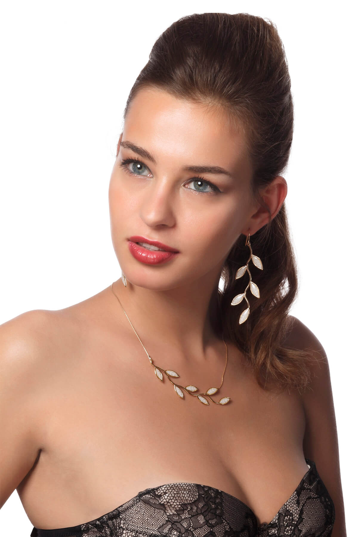 handmade vermeil olive leaf necklace and earrings bridal pearl