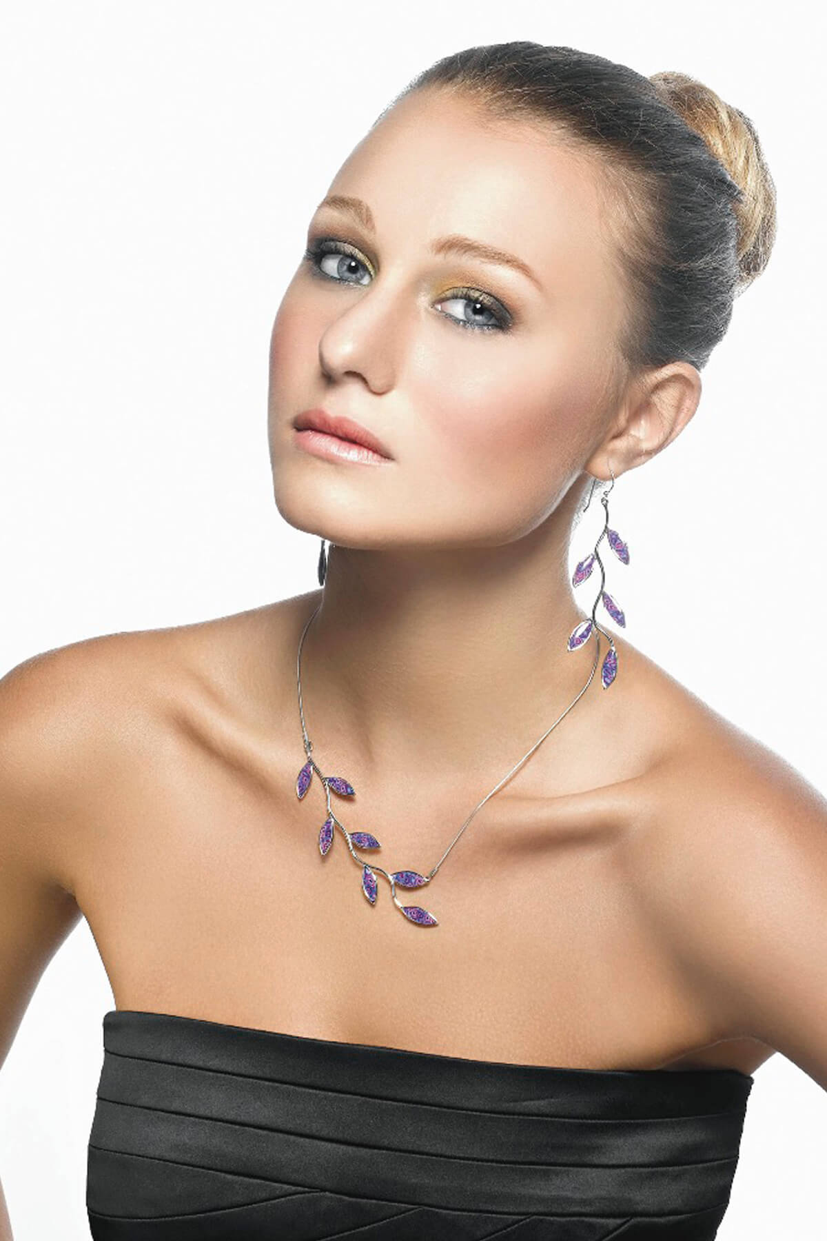 handmade silver olive leaf necklace and earrings bridesmaid purple