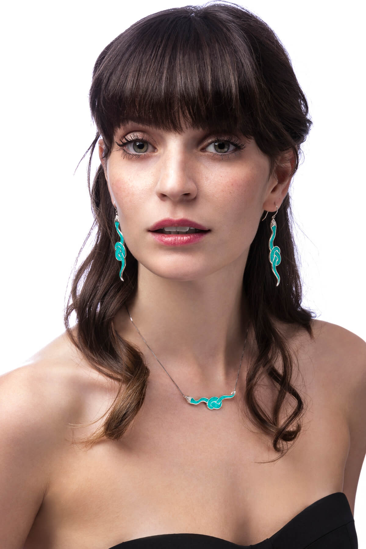 Handmade silver snake necklace and earrings – turquoise pattern