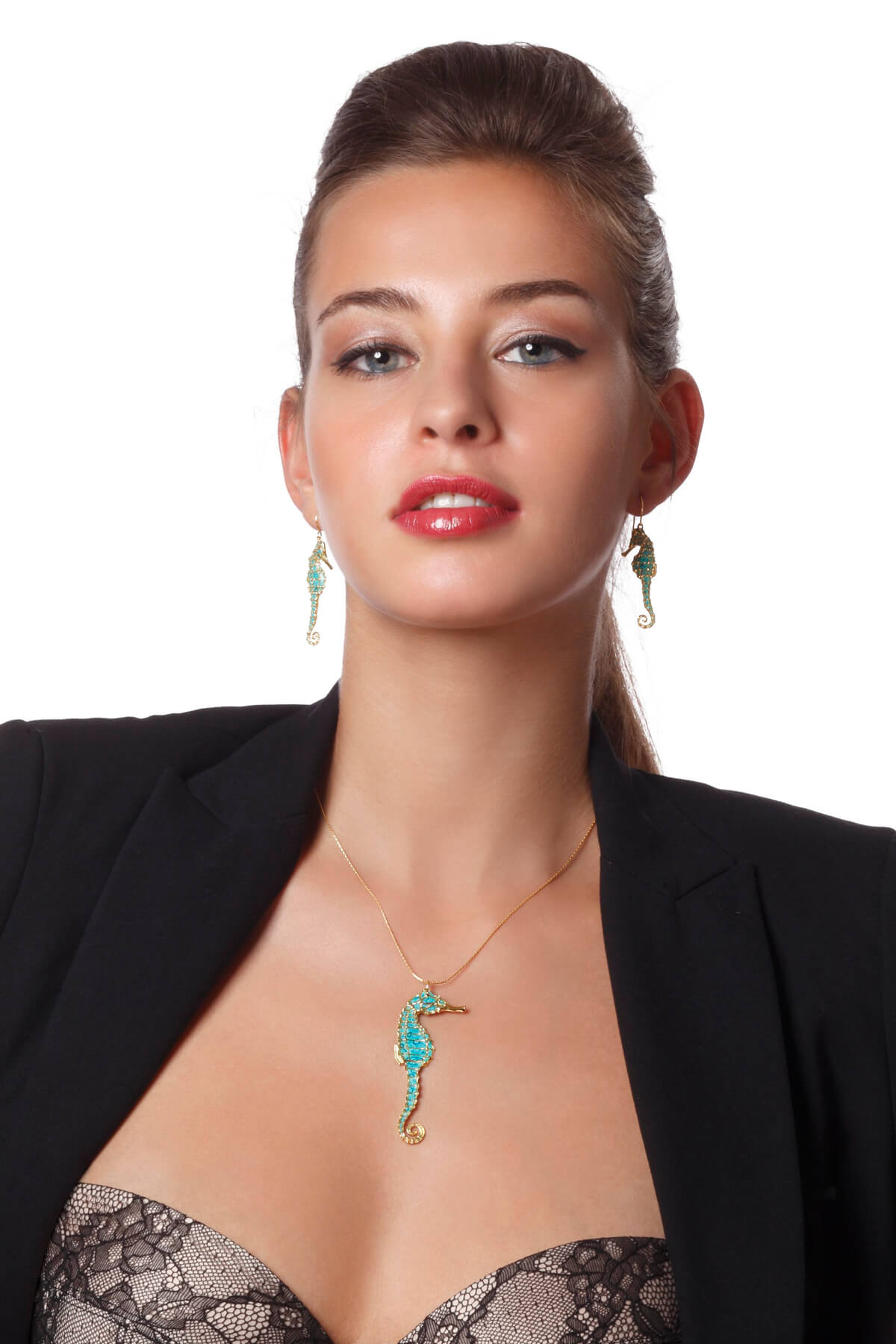Handmade vermeil seahorse long necklace and earrings -turquoise pattern
