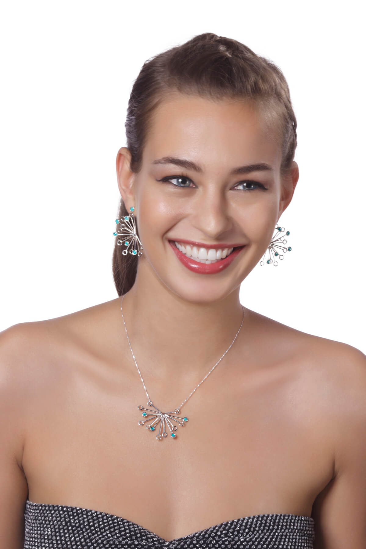Handmade Silver Senecio Flower Necklace and earrings – Turquoise Pattern