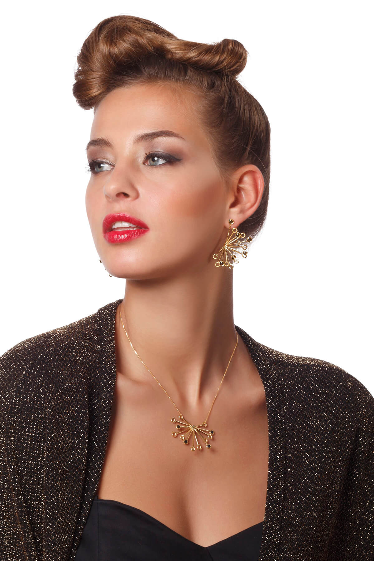 Handmade Vermeil Senecio Flower Necklace and Earrings – Black Pattern