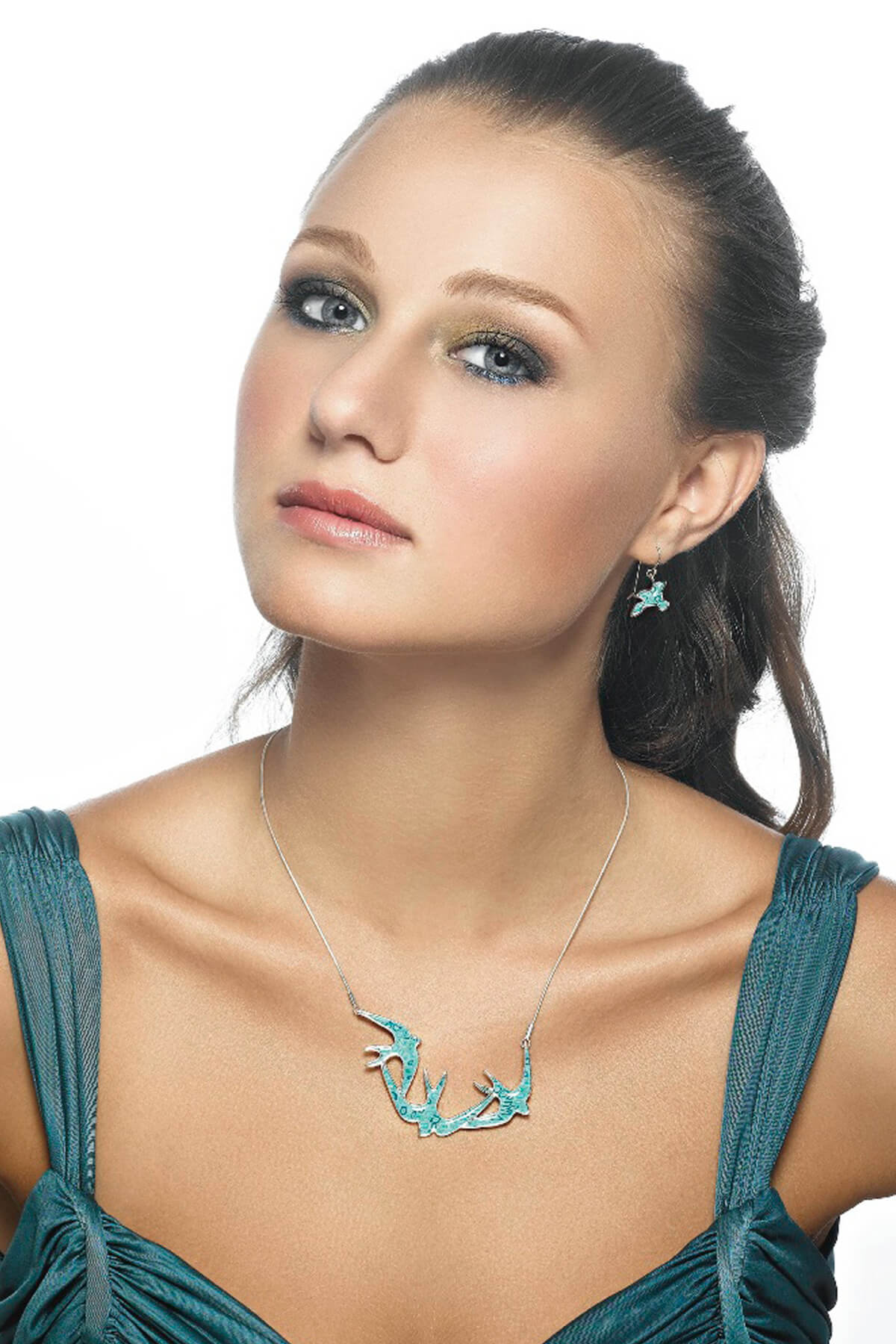 Handmade Silver Swallows Necklace and Earrings  – Turquoise Pattern