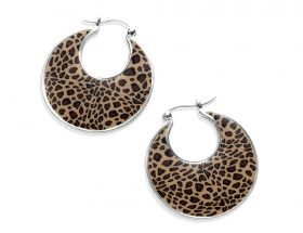 Handmade Silver Round Afro Hoop Earrings - Leopard Pattern