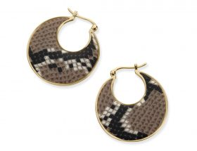 Handmade Vermeil Round Afro Hoop Earrings - Snake Pattern