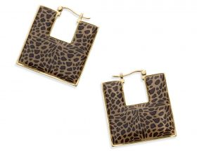 Handmade Vermeil Square Afro Hoop Earrings - Leopard Pattern
