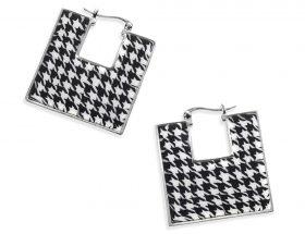 Handmade Silver Square Afro Hoop Earrings - Houndstooth Pattern
