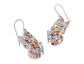 Handmade Silver Butterfly Earrings - Millefiori Pattern