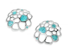 handmade silver coral nella stud earrings turquoise