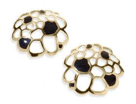 Handmade Vermeil Coral Stud Earrings - Black Pattern