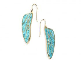 Handmade Vermeil Dragonfly Wings Long Earrings - Turquoise Pattern