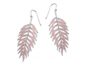 Handmade Vermeil Palm Leaf Earrings - Rose Quartz Pink Pattern