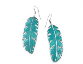 Handmade Silver Palm Leaf Long Earrings - Turquoise Pattern