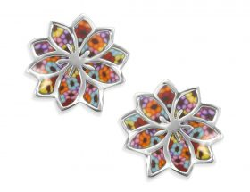 Handmade Silver Flowers Frida Kahlo Stud Earrings - Millefiori Pattern