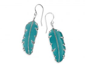 Handmade Silver Palm Leaf Small Earrings - Turquoise Pattern