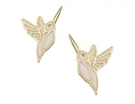 Handmade Vermeil Hummingbird Earrings - Pearl Pattern