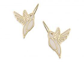 Handmade Vermeil Hummingbird Earrings - Pearl Pattern