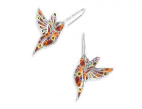Handmade Silver Hummingbird Earrings - Millefiori Pattern