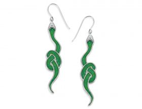 Handmade Silver Snake Earrings - Green Jade Pattern