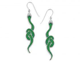 Handmade Silver Snake Earrings - Green Jade Pattern