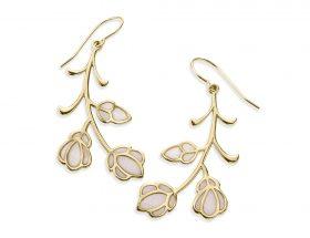 Handmade Vermeil Flowers Frida Kahlo Earrings - Pearl Pattern