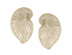 handmade vermeil nautilus stud earrings with pearl pattern