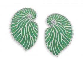 Handmade Silver Nautilus Shell Stud Earrings - Green Jade Pattern