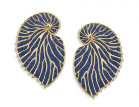 Handmade Vermeil Nautilus Shell Stud Earrings - Blue Pattern