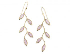 Handmade Vermeil Olive Leaf Long Earrings - Rose Quartz Pink Pattern