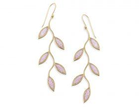 Handmade Vermeil Olive Leaf Long Earrings - Rose Quartz Pink Pattern