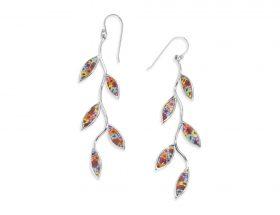 Handmade Silver Olive Leaf Long Earrings - Millefiori Pattern