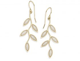 Handmade Vermeil Olive Leaf Earrings - Pearl Pattern