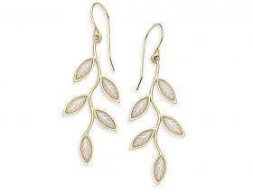 Handmade Vermeil Olive Leaf Earrings - Pearl Pattern