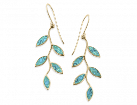 handmade vermeil olive leaf earrings turquoise