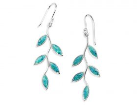 Handmade Silver Olive Leaf Earrings -Turquoise Pattern