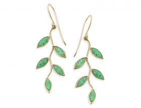 Handmade Vermeil Olive Leaf Earrings -Jade Green Pattern