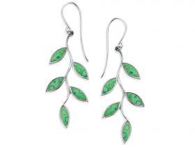Handmade Silver Olive Leaf Earrings -Jade Green Pattern