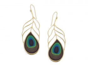 Handmade Vermeil Peacock Eye Feather Long Earrings