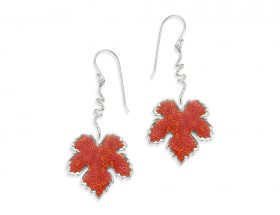 Handmade Silver Vine Leaf Earrings - Red Coral Pattern