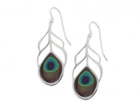 Handmade Silver Peacock Eye Feather Small Earrings