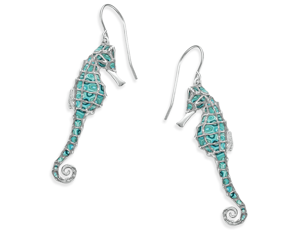 Hanging Earrings Silver Seahorse Img
