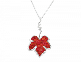 handmade vermeil vine leaf necklace coral red