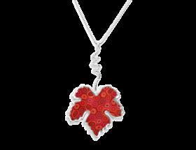 handmade vermeil vine leaf necklace coral red