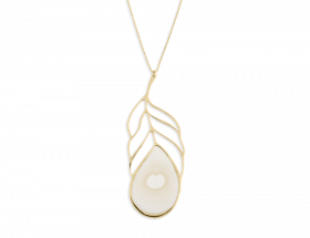 handmade vermeil long peacock white feather necklace wh