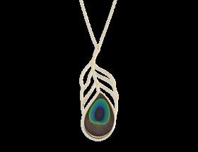 handmade vermeil long peacock feather necklace