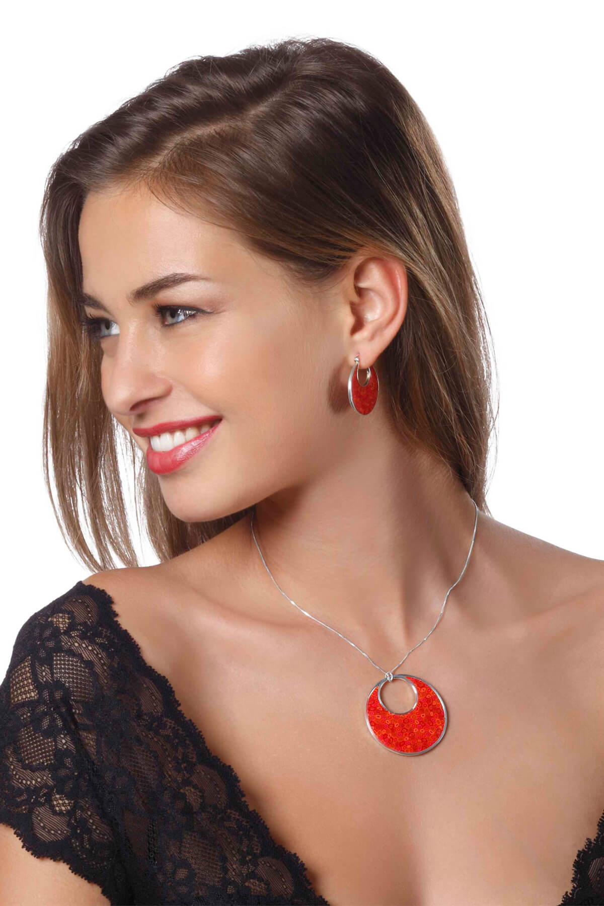 Handmade Silver Round Afro Hoop Earrings and Necklace – Red Coral Pattern