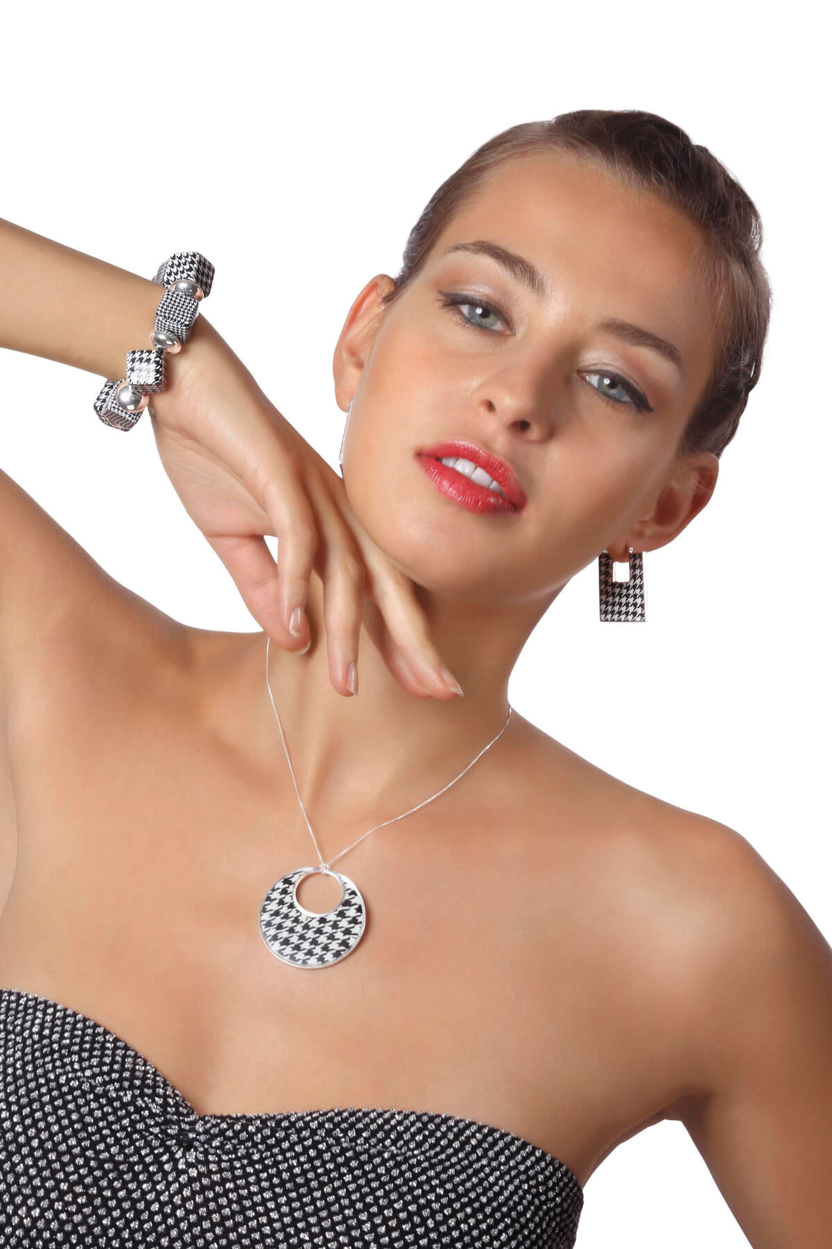 Handmade Silver Square Afro Hoop Earrings  and Necklace – Houndstooth Pattern