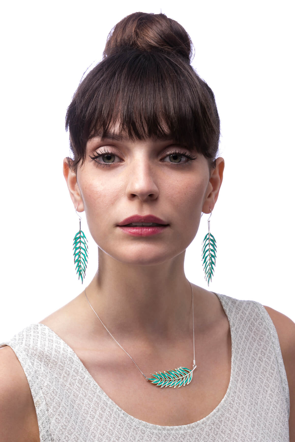 Handmade Silver Palm Leaf Earrings and Necklace – Turquoise Pattern