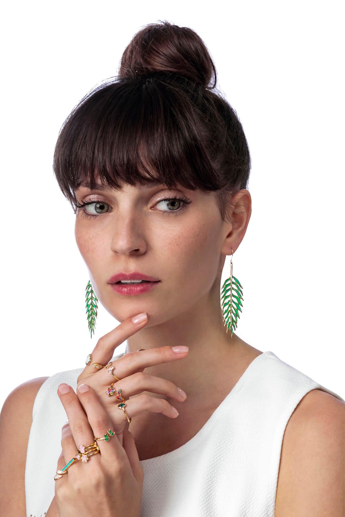 Handmade Silver Palm Leaf Earrings – Jade Green Pattern