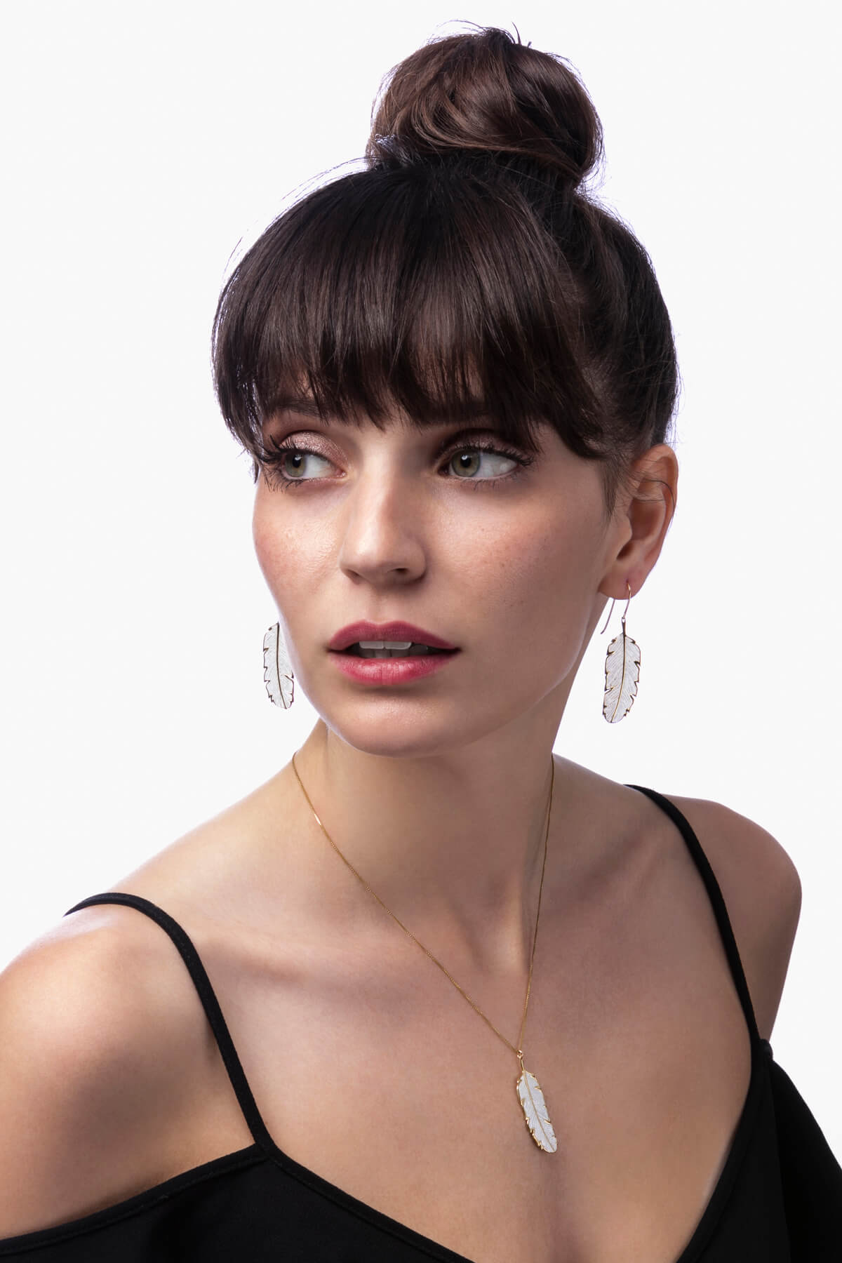 Handmade Vermeil  Palm Leaf Small Earrings and Necklace – Pearl Pattern